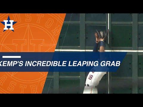 Video: Tony Kemp makes a fantastic leaping grab at the left-field wall