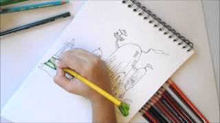 Art Time Lapse: How to draw Adventure Time treehouse!