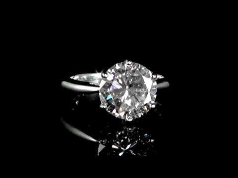 CGL Certified 3.46ct Round Brilliant Cut Diamond Ring
