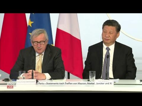Pressekonferenz nach Treffen von Juncker, Merkel, Macr ...