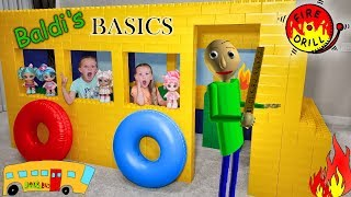 Baldi's Basic in Real Life Fire Drill on Giant Lego Fort School Bus With Kindi Kids!!