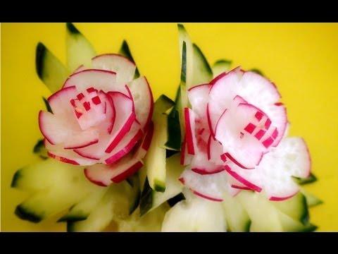 Radish Flower | Cucumber Leaf   Art In Radish Show   Vegetable Carving Rose Tutorial