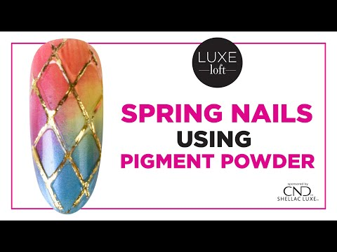 Spring Gel Nails Using Pigment Powder, a Striper Brush, and Gold Foil