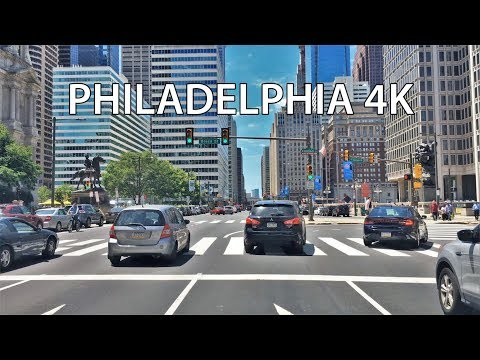 Driving Downtown - Philadelphia 4K - USA (видео)