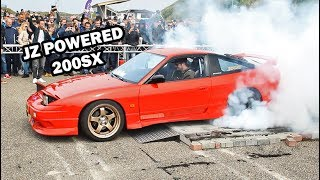 A 400+hp twin turbo 1JZ in a Nissan?? Yea, why not.. Let her rip!In this video you'll see a clean jz swapped 200SX do a 1.5 minute long burnout.This burnout contest took place at the 2017 JapFest meet in Zandvoort (The Netherlands).
