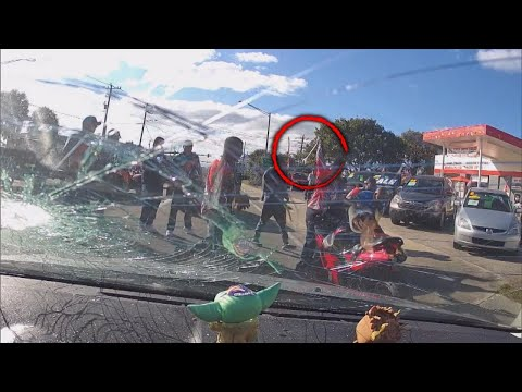 Driver Pulled Surrounded and Beaten by Bikers With Wrench