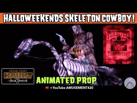 Animated Talking Prop Skeleton Cowboy on Horse Tombstone Terror-Tory Cedar Point HalloWeekends 2015 (видео)