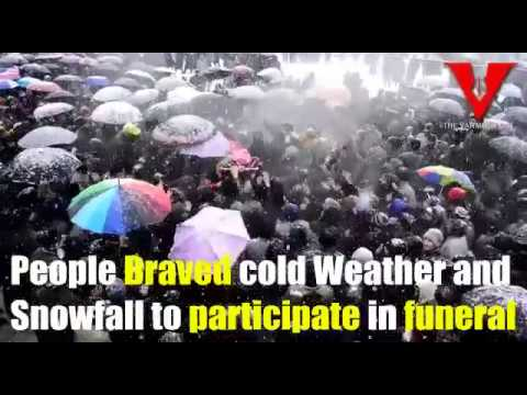 People in Sopore brave snowfall to participate in the funeral of local militant killed in Srinagar.