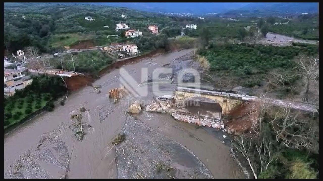 Πλάνα από την κατεστραμμένη γέφυρα του Κερίτη στα Χανιά(drones)