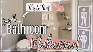 SMALL BATHROOM MAKEOVER ON A BUDGET :: DOLLAR TREE ORGANIZATION IDEAS :: EXTREME ROOM TRANSFORMATION