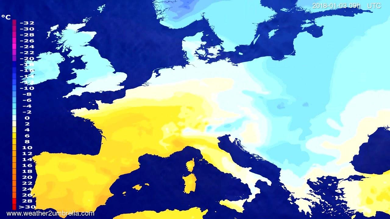 Temperature forecast Europe 2017-12-30