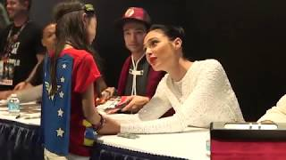 Gal Gadot shared a sweet moment with a young Wonder Woman fan at Comic Con 2017 while signing autographs with the 'Justice League' cast including Ben Affleck & Jason Momoa.http://bit.ly/VarietySubscribe