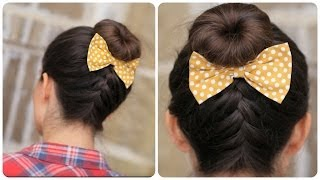 DIY French-Up High Bun | Cute Hair Bun Ideas - YouTube