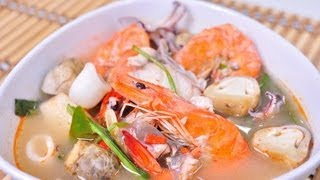 [Thai Food] Thai Spicy Seafood Soup (Tom Yum Ruam Mit Ta Lay Nam Sai)