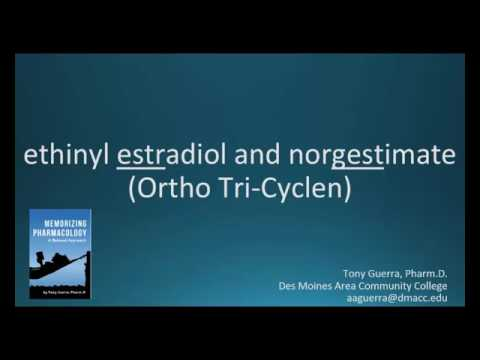 How to pronounce ethinyl estradiol / norgestimate (Ortho Tri Cyclen) (Memorizing Pharmacology)