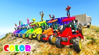 Video LEARN Color Tractor race from Mountain with  superheroes  Cartoon for kids and babies MP3, 3GP, MP4, WEBM, AVI, FLV Juni 2018