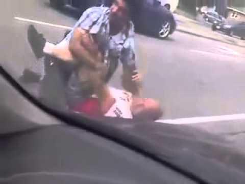 Road rage... fight... got beat... lets shake on it. I like it.