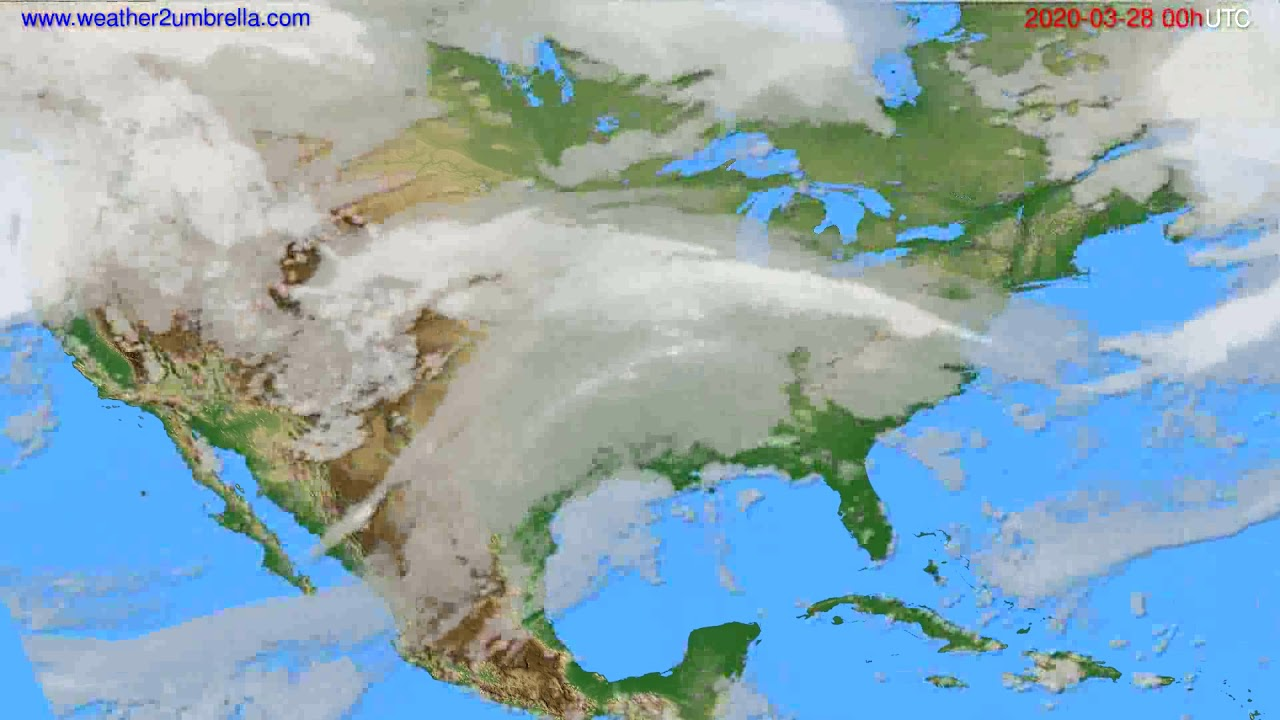 Cloud forecast USA & Canada // modelrun: 00h UTC 2020-03-27