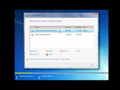 How to Install and Partition Windows 7