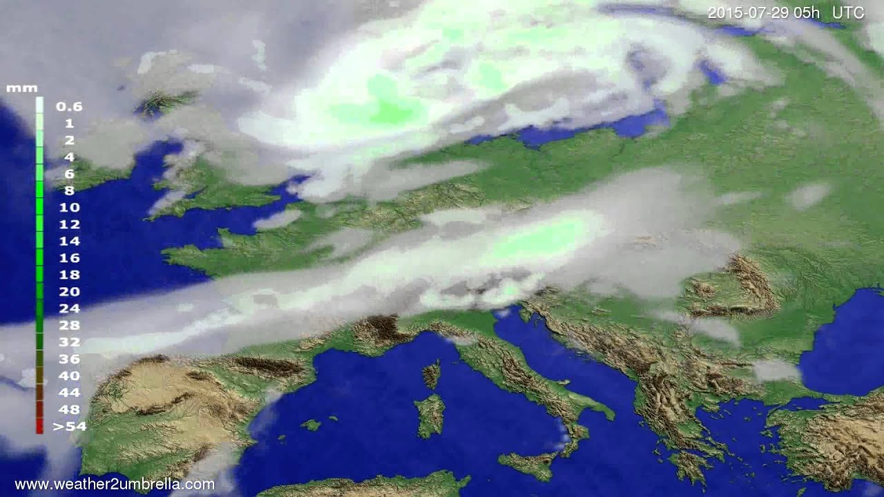 Precipitation forecast Europe 2015-07-26