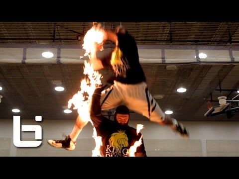 Dude Dunks Over Man ON FIRE