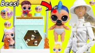 LOL SURPRISE Dolls Lil Punk Boi Gets Stung by Big Bees with Barbie Beekeeper Beehive Pearl Playset