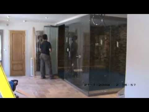 video of frameless doors