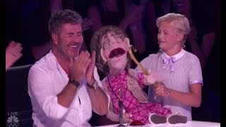 Darci Lynne: Her Naughty Old-lady Puppet 'Edna' Makes Simon Cowell BLUSH!! America's Got Talent 2017
