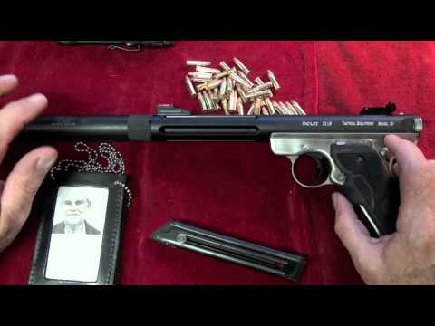 Ruger - Showing and shooting The Tactical Solutions Ruger Mk III .22LR pistol at night with a suppressor and laser at The Hoffman Compound in another Shoot-A-Matic e...