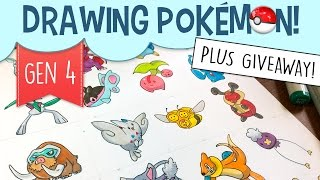 The giveaway has ended! Thanks to everyone who participated, and congrats to Keileen Garcia!Drawing Pokémon Characters With Copic Markers  Pokémon Generation 4Previous Pokémon Copic Drawings: https://www.youtube.com/playlist?list=PLDBcpqbLoA6ecDBEFRzZ_eCjIkyFVuS6eToday I'm drawing Pokémon Generation 4 with Copic Markers! Generation 4 includes the Pokémon from diamond, pearl, and platinum. This is one of many Pokémon speed drawings that I've done on YouTube, and the goal is to draw simplified Pokemon. A lot of people said Pokemon Generation 4 was their favorite generation of the entire franchise.I'm also doing a giveaway! The winner will receive a print of any of my art that I've done on YouTube so far (including any of the Pokémon character copic drawings!) The contest ends May 30, 2017. Share it with your fellow Pokémon fans and spread the word!This Pokemon speed drawing includes the following Pokémon art:• Glaceon copic art• Weavile• Piplup• Budew• Gallade• Finneon• Cherubi• Manaphy• Mamoswine• Togekiss• Combee• Kricketot• Bibarel• Glameow• Buizel• Drifloon• Bronzong• Mantyke• Shaymin• BunearyPokemon Prints on Etsy: https://www.etsy.com/shop/pigknit?section_id=19896210-----------------------------------------------------------------------------------------Materials used: Micron Pens:https://www.amazon.com/gp/product/B000XAORIS/ref=as_li_tl?ie=UTF8&camp=1789&creative=9325&creativeASIN=B000XAORIS&linkCode=as2&tag=pigknit-20&linkId=9c75f6b3e75ba018c3bc6769ae21e68aGelly Roll gel pen in white: https://www.amazon.com/gp/product/B00CF5R57Y/ref=as_li_tl?ie=UTF8&camp=1789&creative=9325&creativeASIN=B00CF5R57Y&linkCode=as2&tag=pigknit-Copic Sketch Markers:https://www.amazon.com/gp/product/B004XR96UG/ref=as_li_tl?ie=UTF8&camp=1789&creative=9325&creativeASIN=B004XR96UG&linkCode=as2&tag=pigknit-20&linkId=d65f72e9da5996590b23d41dce33b06a-----------------------------------------------------------------------------------------Subscribe to peer into a day in the life of a freelance illustrator and learn how to draw cartoons! Also, don't forget to share if you care :]Background Music: https://soundcloud.com/stefanpizzo/dont-throw-that-away-background-musichttps://soundcloud.com/kevin-9-1/carefreewww.pigknit.comFacebook: https://www.facebook.com/pigknit/Twitter: https://twitter.com/pigknitTumblr: https://www.tumblr.com/blog/pigknitInstagram: @pigknitSnapchat: PigknitHey, teachers! I sell clip art on Etsy and Teachers Pay Teachershttps://www.etsy.com/shop/pigknithttps://www.teacherspayteachers.com/Store/Pigknit-Clip-Art?aref=5ey2dqn2Thanks for watching!