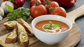 Roasted Tomato and Red Pepper Soup - creamy comforting summer soup, full of flavor, served with cheese toasts that makes is totally irresistible. To print the ...