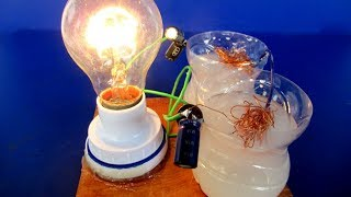 Free energy generator magnet in Salt water with light bulb 220V - Easy DIY electricity at home