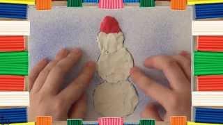 Картины из пластилина. Снеговик