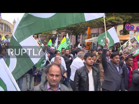 Thousands march in Frankfurt to protest against India's lockdown of Kashmir