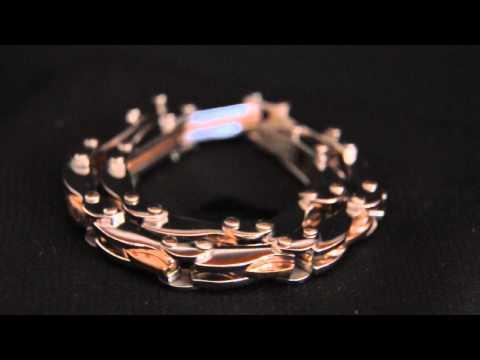 BRA-5 Bracciale elegante unisex acciaio inserti placcati oro