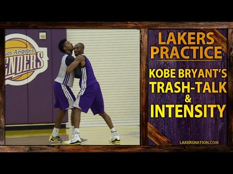 bryant - In our Lakers practice report, here's an intense video of Kobe Bryant trash-talking with Nick Young and even yelling something over to Lakers GM Mitch Kupcha...