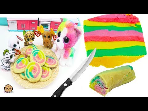 Rainbow Swirl Sugar Cookies  with Beanie Boo's - Cookie Swirl C Cooking Video