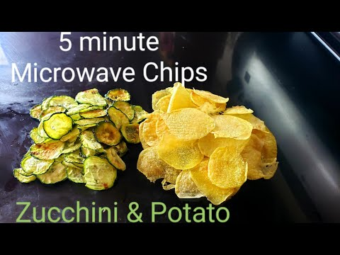 5 Minute Microwave Potato & Zucchini Chips