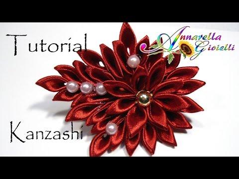 tutorial per realizzare un fiore kanzashi per i capelli