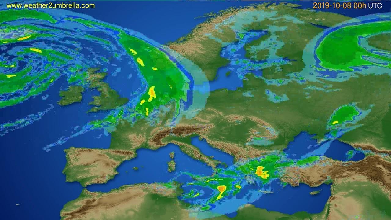 Radar forecast Europe // modelrun: 12h UTC 2019-10-07