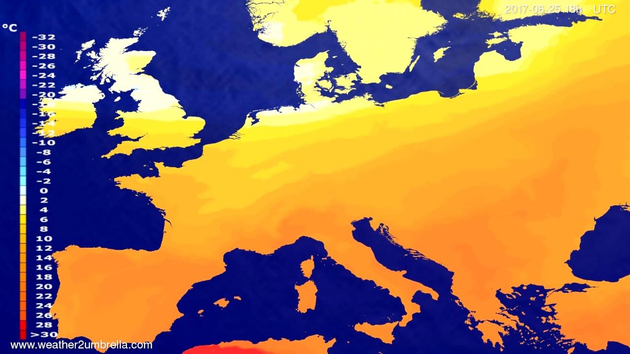 Temperature forecast Europe 2017-06-22