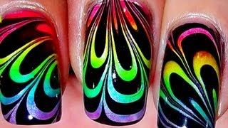 Rainbow Water Marble [no long nails] - YouTube