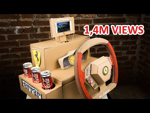 How To Make Ferrari LaFerrari Gaming Steering Wheel With Coca Cola Holder From Cardboard
