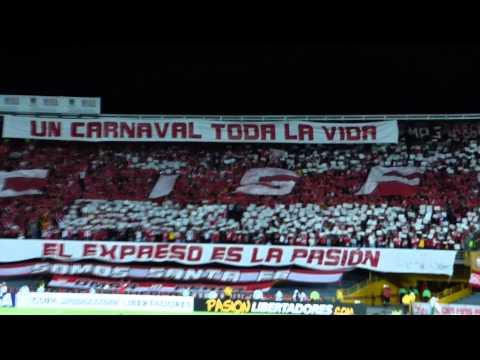 Tifo de LA GUARDIA ALBI ROJA SUR - La Guardia Albi Roja Sur - Independiente Santa Fe - Colombia - América del Sur