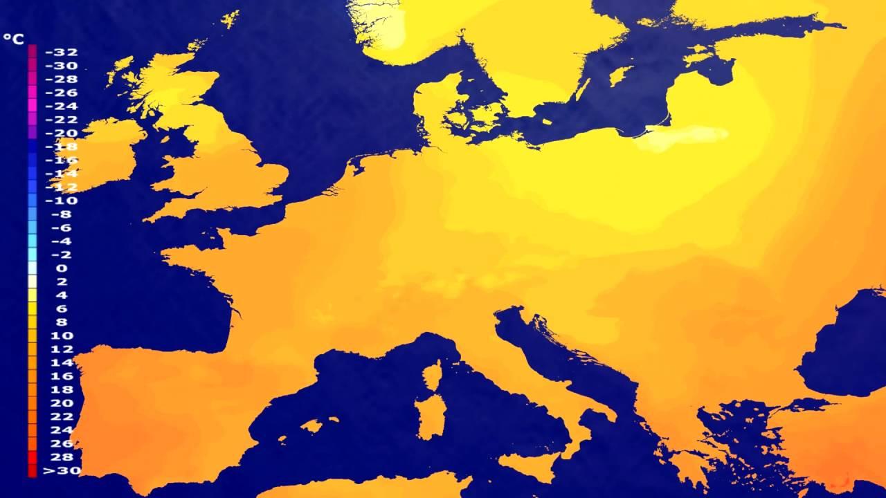 Temperature forecast Europe 2016-08-04