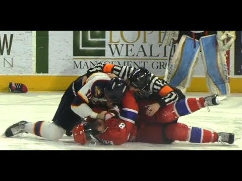 VIDEO: 6 players, 3 fights, 54 penalty minutes in one clash