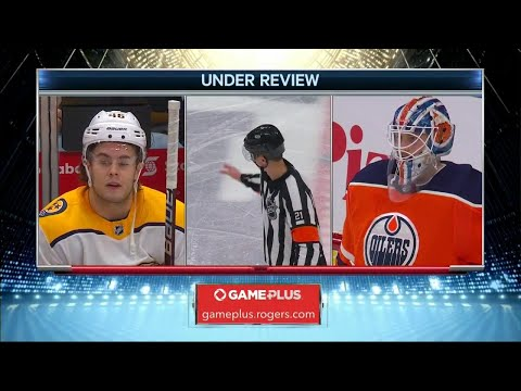 Video: High stick or not, Predators' Aberg tips it past Oilers Brossoit