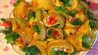 Овощная Закуска С Кабачками. Тещин Язык. Vegetable Snack. Vegetable rolls