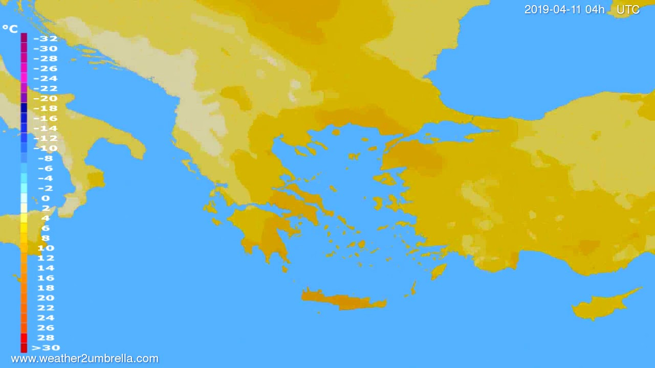 Temperature forecast Greece // modelrun: 12h UTC 2019-04-09
