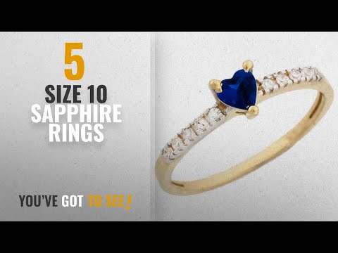 10 Best Size 10 Sapphire Rings: 14k Gold September Birthstone Simulated Sapphire Heart Ring